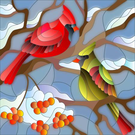 Illustration de style vitrail, deux oiseaux cardinaux assis sur une branche de cendre de montagne sur un fond de ciel et pas de neige Banque d'images - 62986198