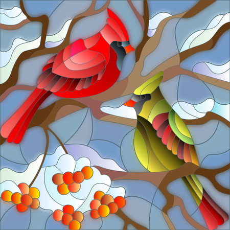 Illustration in stained glass style , pair of birds cardinals sitting on a branch of mountain ash on a background of sky and no snow