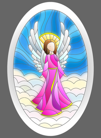Illustration in stained glass style angel in oval frame on a background of sky and clouds