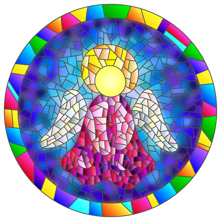 Illustration in stained glass style Christmas angel