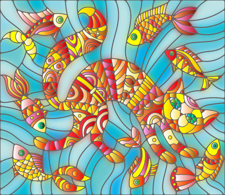 guppies: Illustration in stained glass style abstract cat and fish