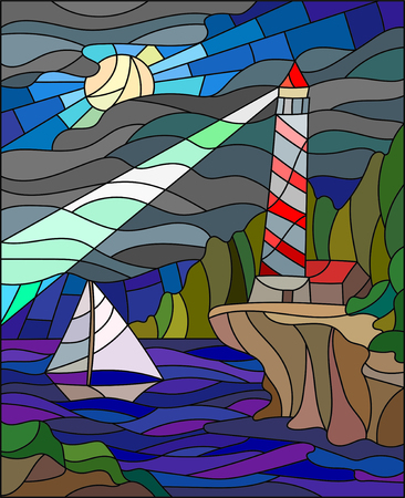 Illustration in stained glass style with the seascape, lighthouse and sailboat on the background of the night sky and the sea Vector Illustration