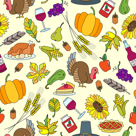 Seamless pattern for holiday Thanksgiving day, a simple hand-drawn color icons on yellow background