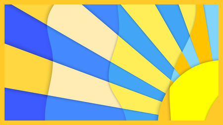 multilevel: Multilevel background image, the  sun with rays on a blue background , material design Illustration
