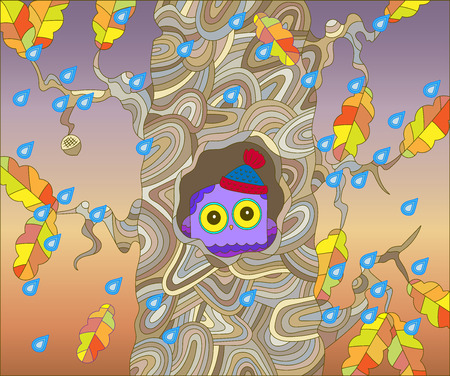 autumn scene: The scene on the theme of autumn with a cute owl in a warm hat hidden in a hollow oak tree on the background of rainy skies and falling leaves Illustration