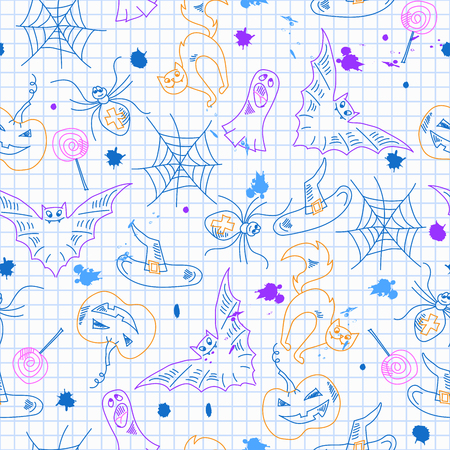 Seamless pattern for Halloween, simple contour drawings and blots on the page in a cell, the imitation of childrens drawings