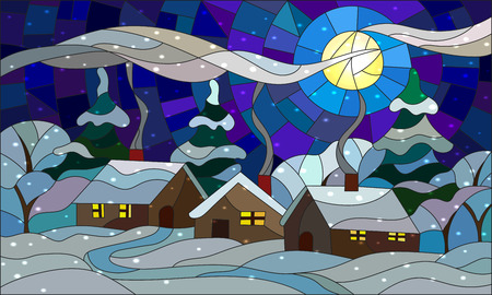 Illustration in stained glass style with the winter village scenery, three single houses on the background of snowy trees, snow and night sky