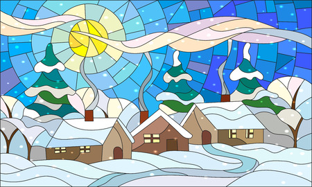 Illustration in stained glass style with the winter village scenery, three lonely house on a background of snow-covered trees snow and the daytime sky