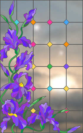 Illustration in stained glass style with flowers, buds and leaves of iris against the sky Illustration