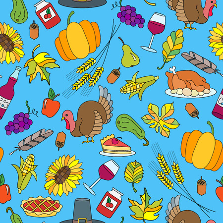Seamless pattern for holiday Thanksgiving day, a simple hand-drawn color icons on blue background