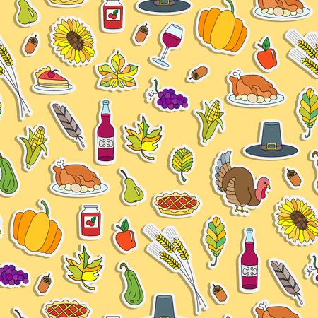 추수 감사절, 노란색 배경에 간단한 손으로 그린 컬러 스티커 휴일에 대 한 원활한 패턴
