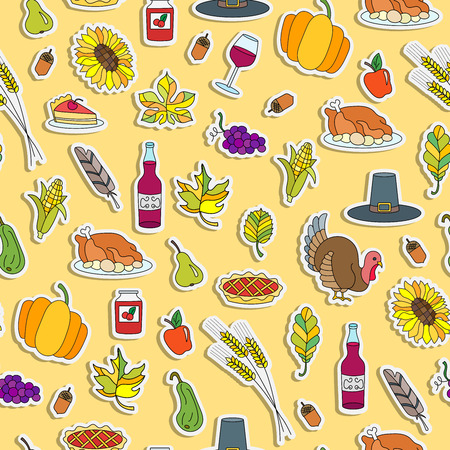 Seamless pattern for holiday Thanksgiving day, a simple hand-drawn coloured stickers on yellow background