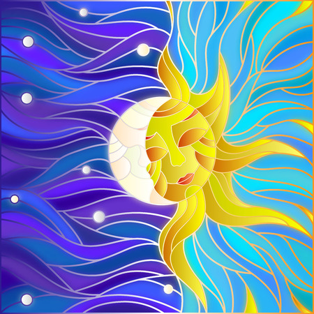 stained glass windows: Illustration in stained glass style , abstract sun and moon in the sky