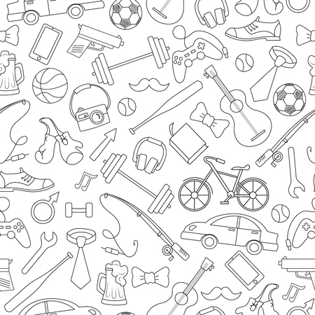 hobbies: Seamless pattern on the theme of male Hobbies and habits,simple hand-drawn contour icons on white background