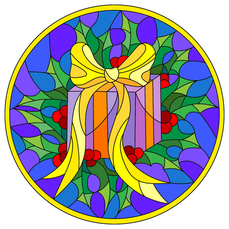 Illustration in stained glass style with a box with a gift, ribbon and Holly branches  on a blue background, round picture frame