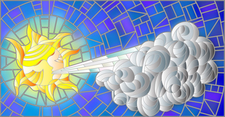 noon: Stained glass illustration with fairy sun blowing a cloud against the  sky