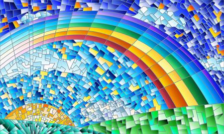 抽象的な風景、フィールド、太陽、空と虹とステンド グラスの窓のスタイルの図  イラスト・ベクター素材