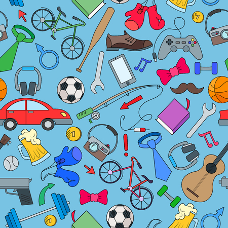 testosterone: Seamless pattern on the theme of male Hobbies and habits,simple hand-drawn  icons on white background Illustration