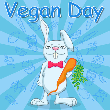 Illustration for the international day of vegetarian , funny rabbit holds a carrot on a blue background with vegetables, a call to become a vegetarian Çizim