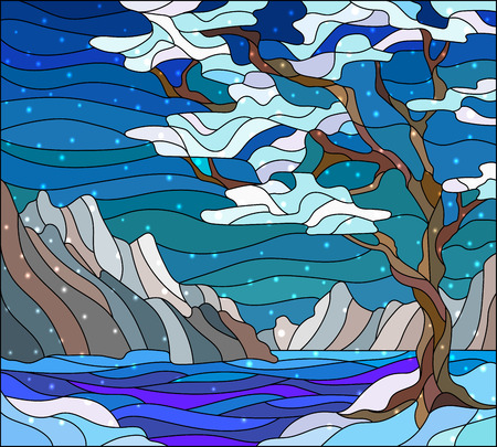 Illustration in stained glass style with abstract winter landscape,the tree on the background of water, mountains and sky Illustration