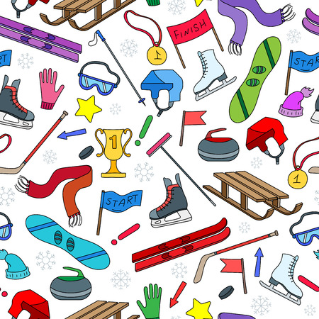 Seamless pattern on the theme of winter sports, simple  icons on white background