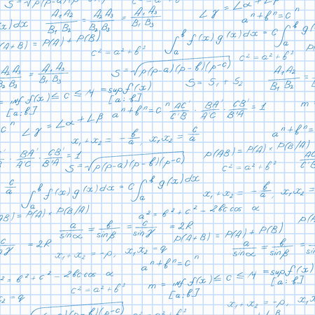 soumis: Seamless pattern on the theme of the subject of mathematics, formulas theorems on the notebook sheet in a cage Illustration
