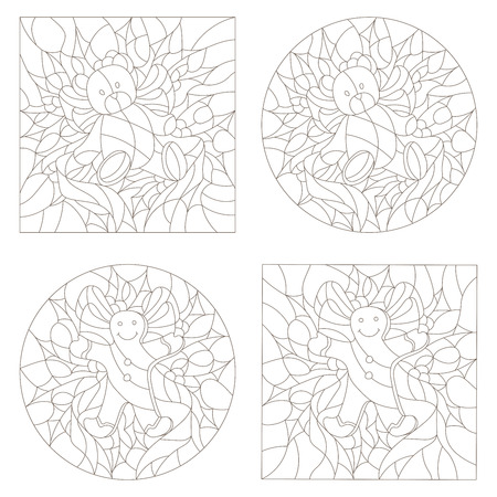Set contour illustrations of the stained glass Windows on the theme of new year and Christmas Teddy bears and the gingerbread man in the background of Holly and ribbons