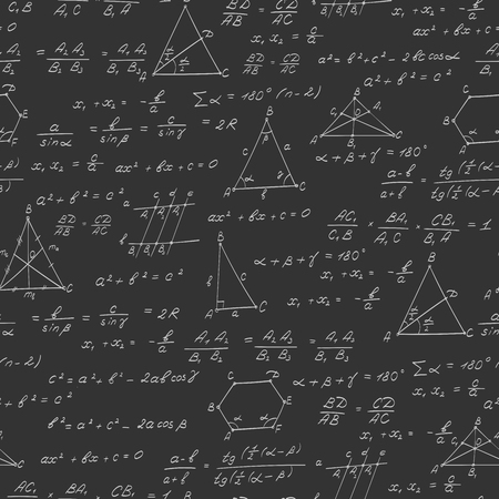 subject: Seamless pattern on the theme of the subject of geometry , formulas, and charts of theorems , a bright outline on a dark background Illustration