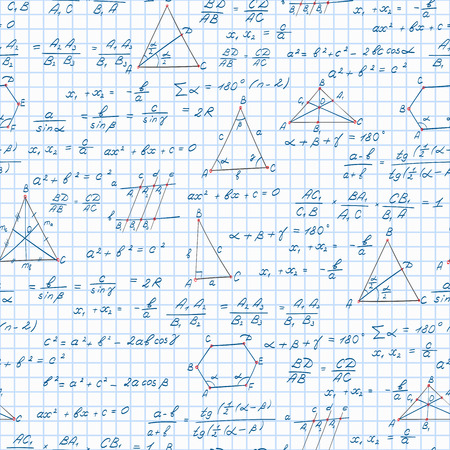 teorema: Seamless pattern on the theme of the subject of geometry , formulas, and graphs theorems on the notebook sheet in a cage Vectores