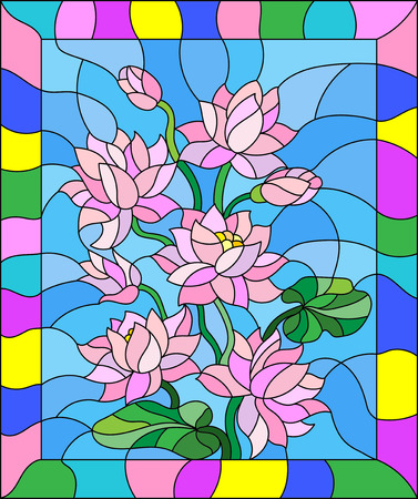 buds: Illustration in stained glass style with flowers, buds and leaves of Lotus