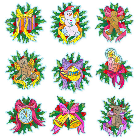 bear berry: A set of Christmas stickers in the stained glass style with the symbols of the winter holidays Illustration