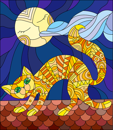 roof shingles: Illustration in stained glass style with red cat running across the roof of the house in the background of the moon and the sky Illustration