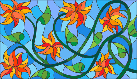 horizontal orientation: Illustration in stained glass style with abstract  orange flowers on a blue background,horizontal orientation