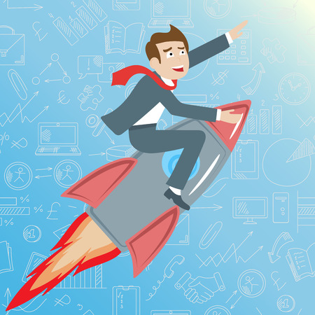 Businessman riding a rocket goes up on a blue background with icons on a theme business , the concept of success