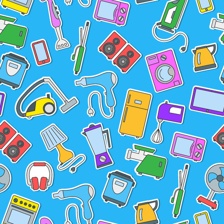 Seamless background with a simple  icons on the topic of household appliances, a colored icons on a blue background Illustration
