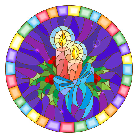Illustration in stained glass style with candles and Holly branches  on a blue background, round picture frame Ilustracja