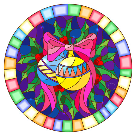 Illustration in stained glass style with Christmas toy and Holly branches  on a blue background, round picture frame