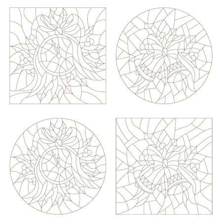 Set contour illustrations of the stained glass Windows on the theme of new year and Christmas clock and Christmas decorations