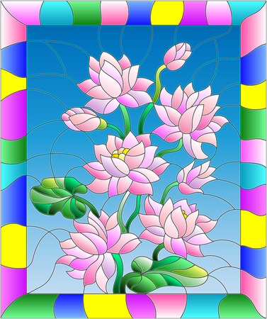 Illustration in stained glass style with flowers, buds and leaves of Lotus