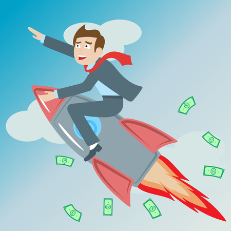 Businessman riding a rocket goes up on  the background of sky, clouds and money , the concept of success