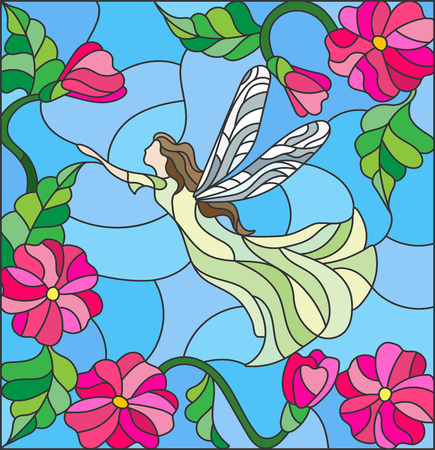 faery: Illustration in stained glass style with a winged fairy in the sky, flowers and greenery
