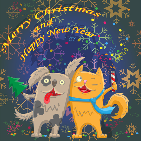 Card for the winter holidays, the cat and the dog is ready to celebrate