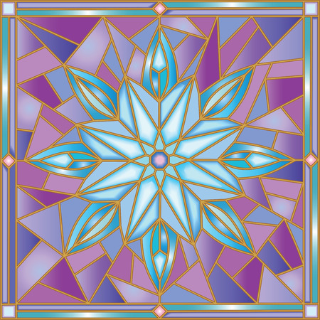 Illustration in stained glass style with abstract snowflake