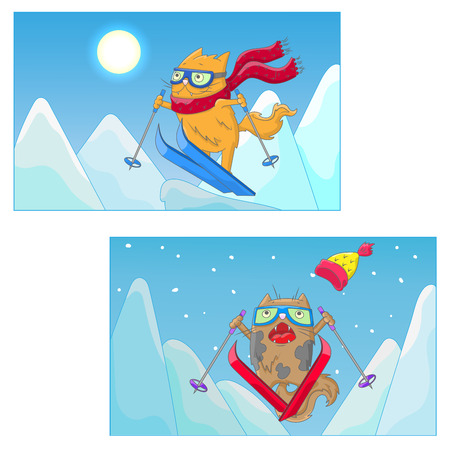 Set of illustrations with funny cats-skiers on the background of mountain landscape