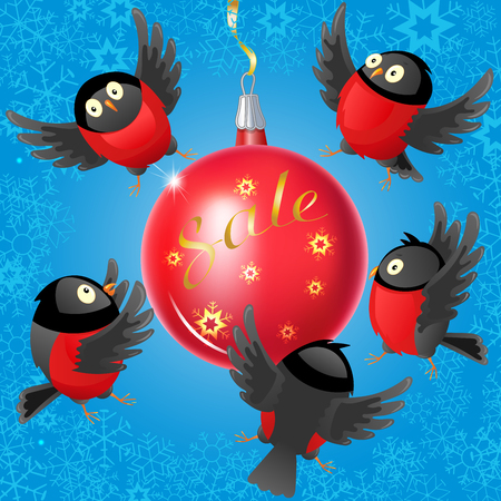 Illustration with bullfinches and Christmas ball on the theme of winter sales