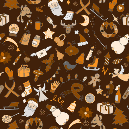christmas cookie: Seamless background with simple hand-drawn icons on the theme of winter holidays