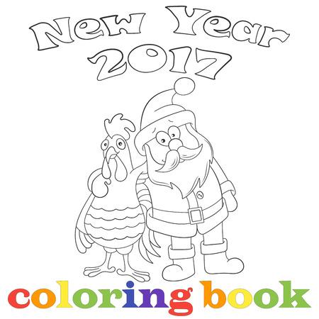 Ilustración Con El Gallo De Dibujos Animados De Contorno Y Santa ...