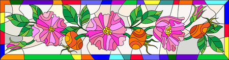 wild rose: Illustration in stained glass style with flowers , berries and leaves of wild rose in a bright frame
