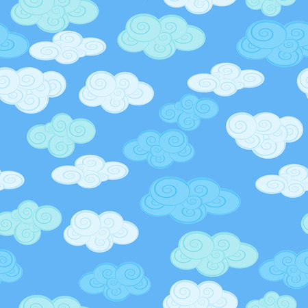 Seamless background with clouds on a blue sky background