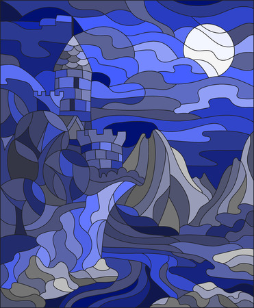 gamma: Illustration in stained glass style landscape with old castle on the background of sky, moon, river and mountains,gamma blue Illustration